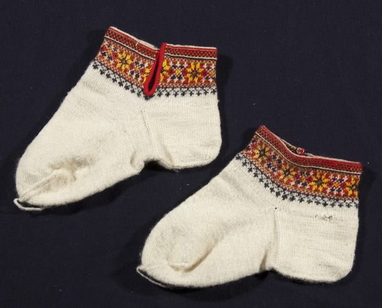 These socks and garter are from a Norwegian bridegroom's costume