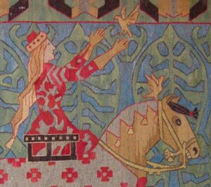 Pictorial tapestry of a prince and princess riding into the forest from a castle - Textiles