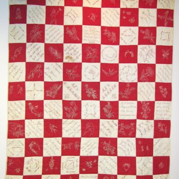 This friendship quilt is made of solid red and white square blocks assembled in a checkerboard fashion - Textiles