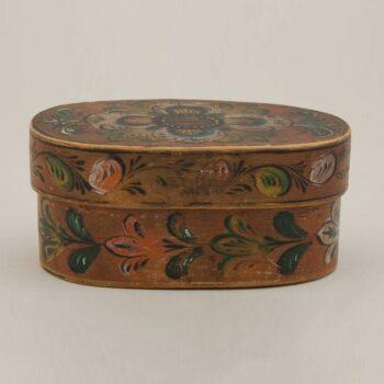 Bentwood box belonged to donor's father, Hans H. Dalaker - Rosemaling