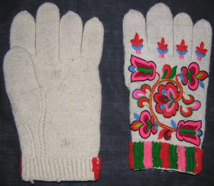 white handknit gloves have Telemark-style embroidery - Textiles
