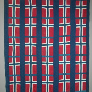 This quilt is made of repeating blocks of Norwegian flags