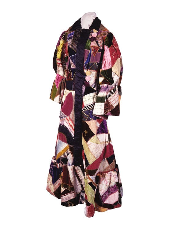 This woman's full length robe is comprised of crazy quilt blocks in many colors of velvets and satins - Textiles
