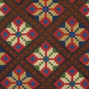 Coverlet with large eight-petal flowers that are divided by diagonal bands of crosses - Textiles
