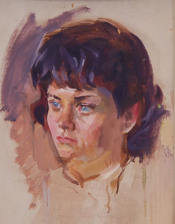 Girl with Blue Eyes, Christian Abrahamsen - Fine Arts
