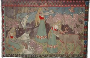 Tapestry with stylized presentation of three princesses and their three bewitched lovers in forms of deer, bird, and fish - Textiles