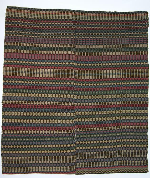 Norwegian coverlet woven in krokbrad (boundweave), single-point type, in red, blue, black, white, and green