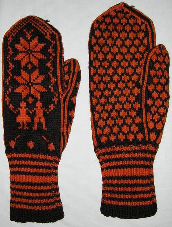 Mittens knit in two-ply brown wool with orange designs - Textiles