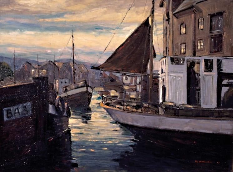 Twilight at Ålesund Harbor, Peer Guldbrandsen - Fine Arts
