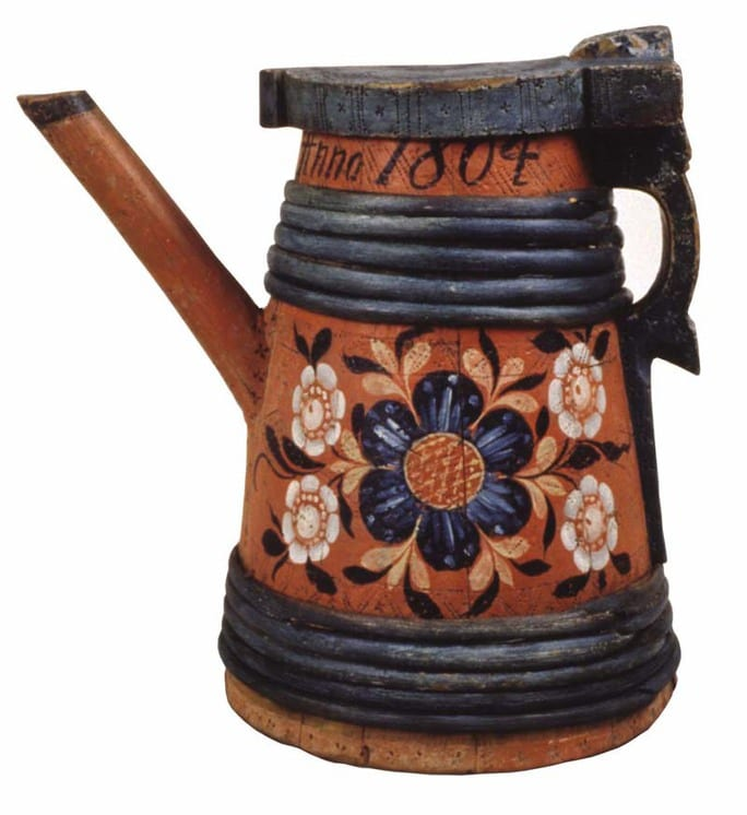 Stave constructed tankard with rosemaling in the Hallingdal style - Rosemaling
