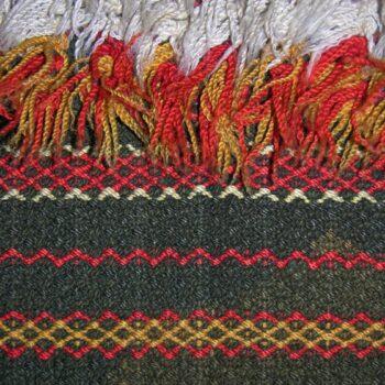 Rya coverlet woven using a diamond twill variant - Textiles