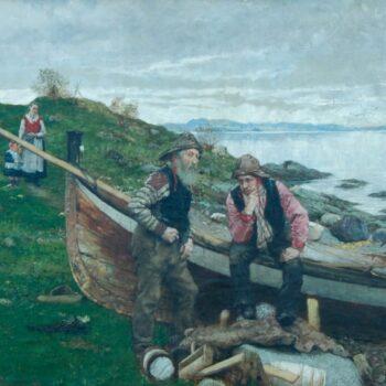 Two Men by Fishing Boat on Shore, Christian Eggen - Fine Arts