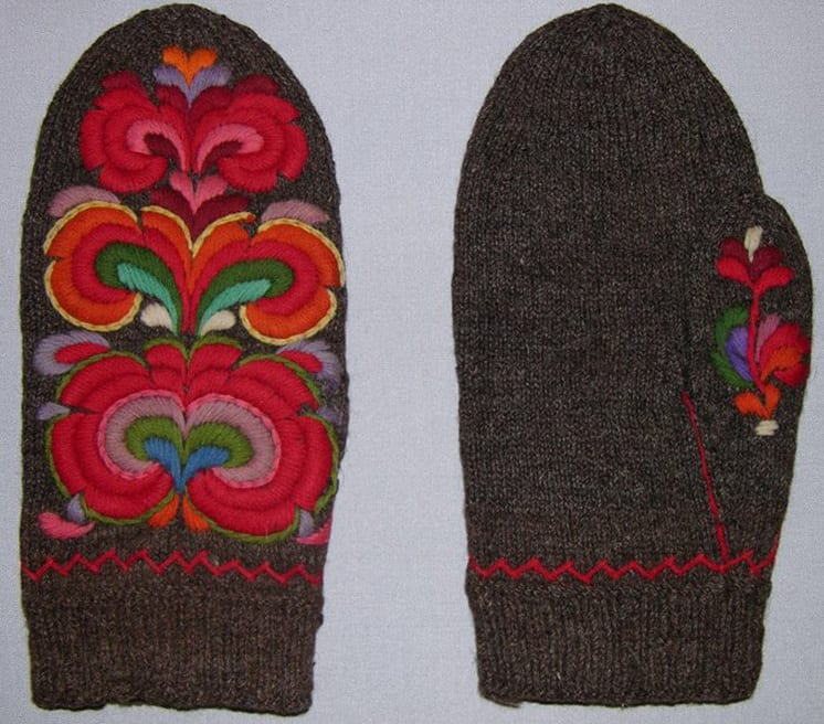 Hand-knit mittens were made using a natural brown wool - Textiles