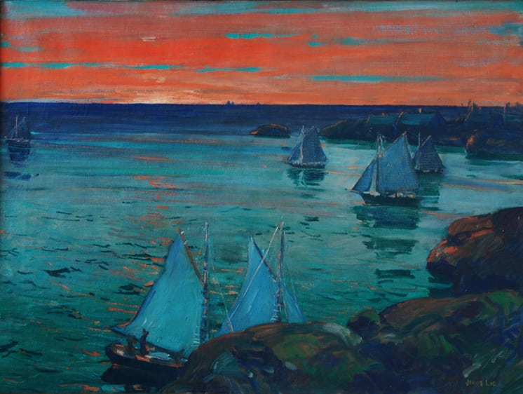 Ships Leaving Port at Dawn, Jonas Lie - Fine Arts