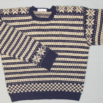 """Hand-knit, Fana-style, sweater has dark blue and white lateral bands with contrasting """"lice"""" or colored dots - Textiles"""
