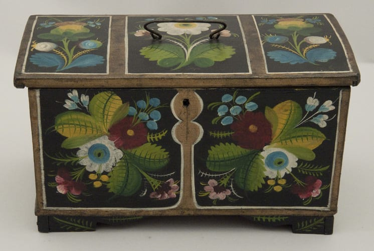 Box of nailed construction with rosemaling on exterior and interior