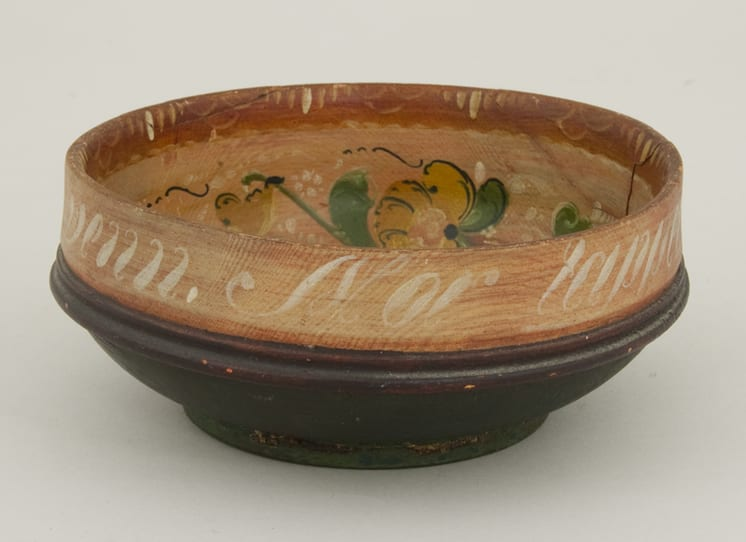 Bowl is turned from one piece of wood and has Hallingdal style rosemaling with inscription - Rosemaling