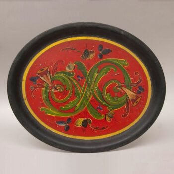 Metal tray with rosemaling done by Per Lysne - Rosemaling