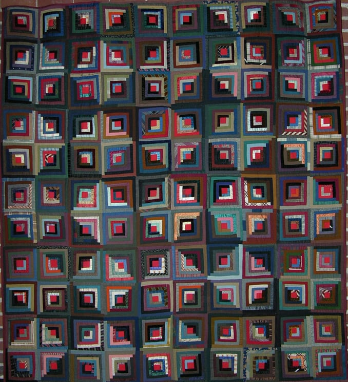 Log cabin quilt done is made of wool and silk - Textiles