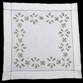 A nearly square piece of fine bleached linen with four borders of hemstitching - Textiles