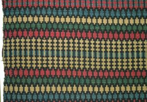 Norwegian coverlet woven in krokbrad (boundweave), single-point type, in red, blue, black, white, and green - Textiles
