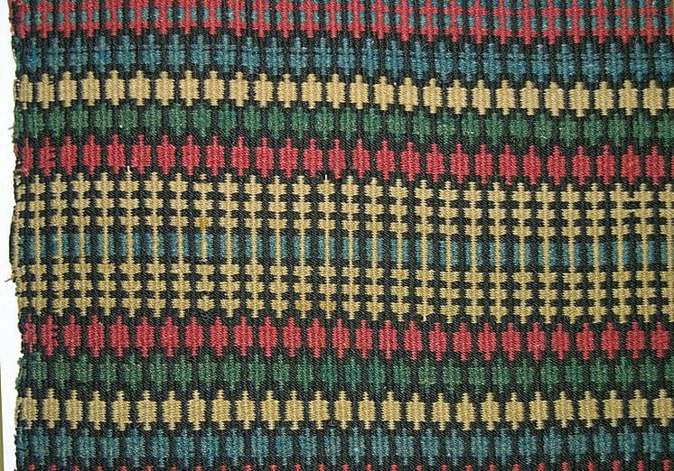 Norwegian coverlet woven in krokbrad (boundweave), single-point type, in red, blue, black, white, and green - Textiles