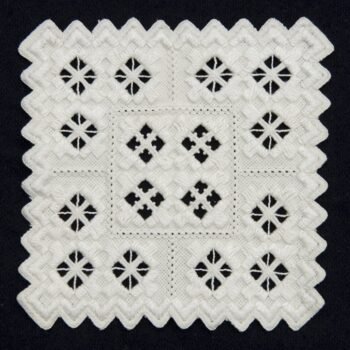 Coasters embroidered in varying traditional Hardanger patterns - Textiles