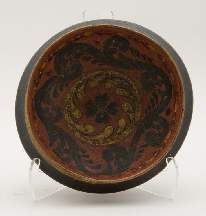 Turned bowl from a single piece of wood, with rosemaling that dates much newer than the bowl itself - Rosemaling