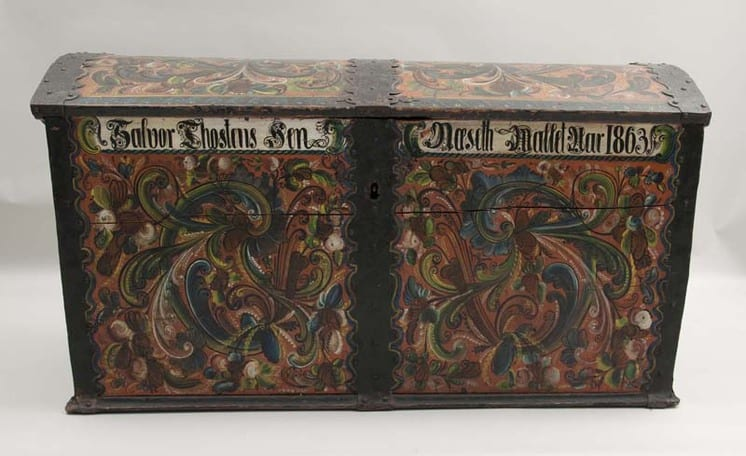 Large trunk with decorative iron bands down the ends and middle - Rosemaling & Decorative Painting