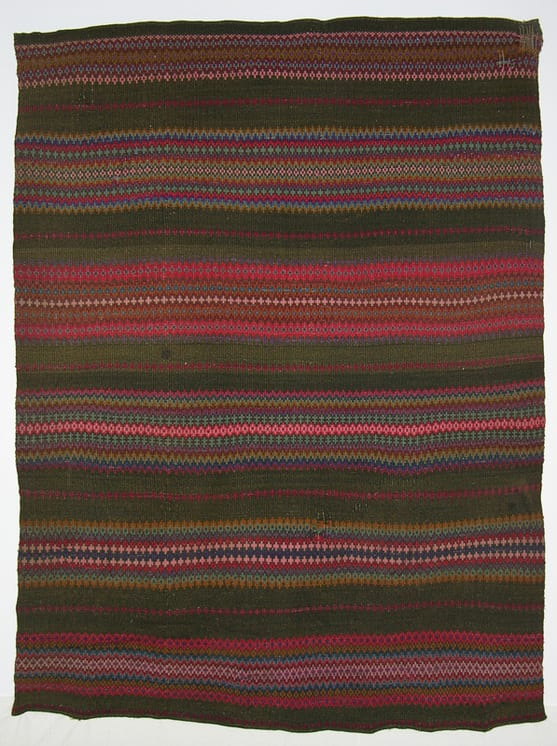 Coverlet with four-ply wool weft in purple, reds, pink, greens, browns, gold - Textiles