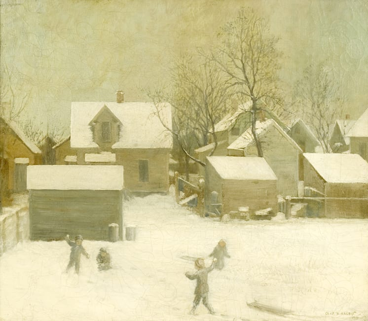 City Snow with Children, Olaf Aalbu - Fine Arts