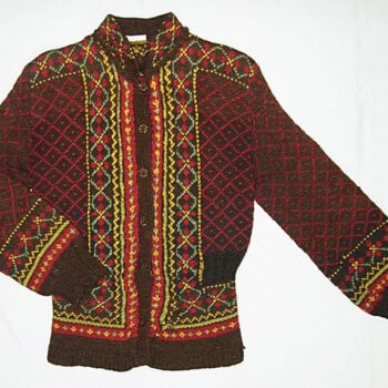 long-sleeved cardigan sweater has a short standing collar, peplum, and ribbed cuffs and hem - Textiles