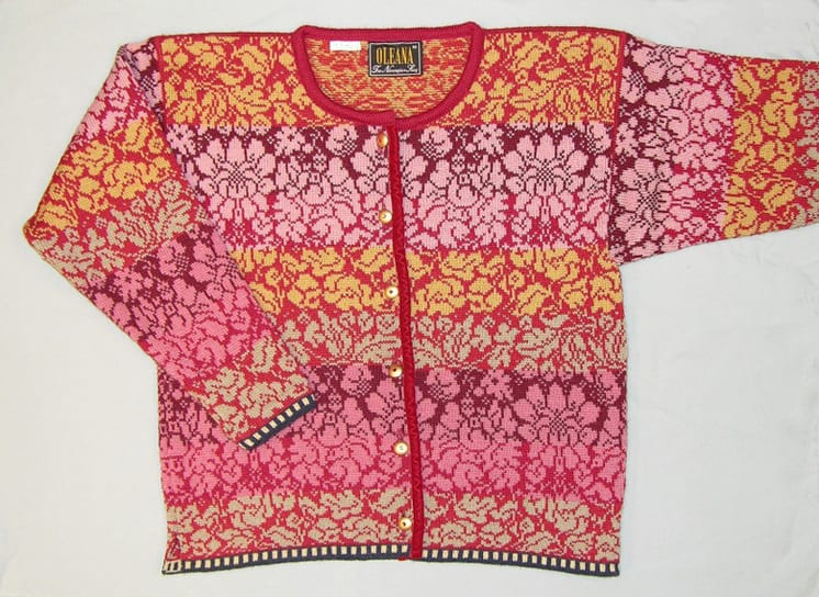 Wool sweater with all-over knit floral pattern in bands of rose, maroon, green, and gold - Textiles