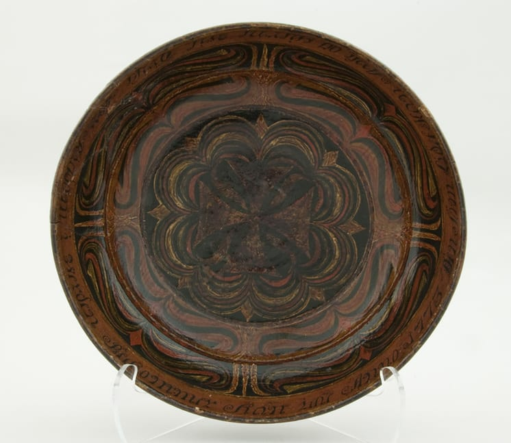 Wooden bowl with early rosemaling decoration - Rosemaling