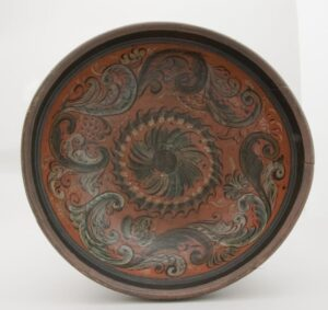 A large, low, outflaring bowl painted in a Telemark influenced style - Rosemaling