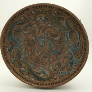 Somewhat deep, out-flaring bowl, with slightly turned in rim - Rosemaling