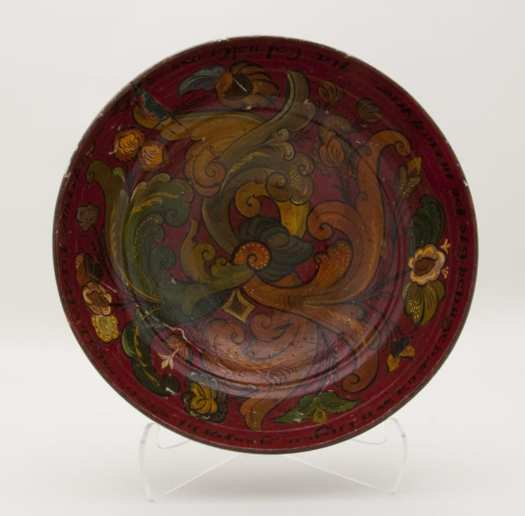 Bowl is turned from one piece of wood and painted with rosemaling in the Telemark style - Rosemaling