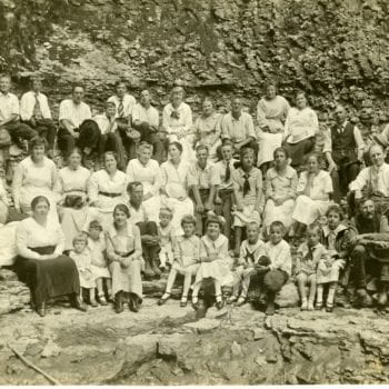Large group of photo of Decorah Posten families.