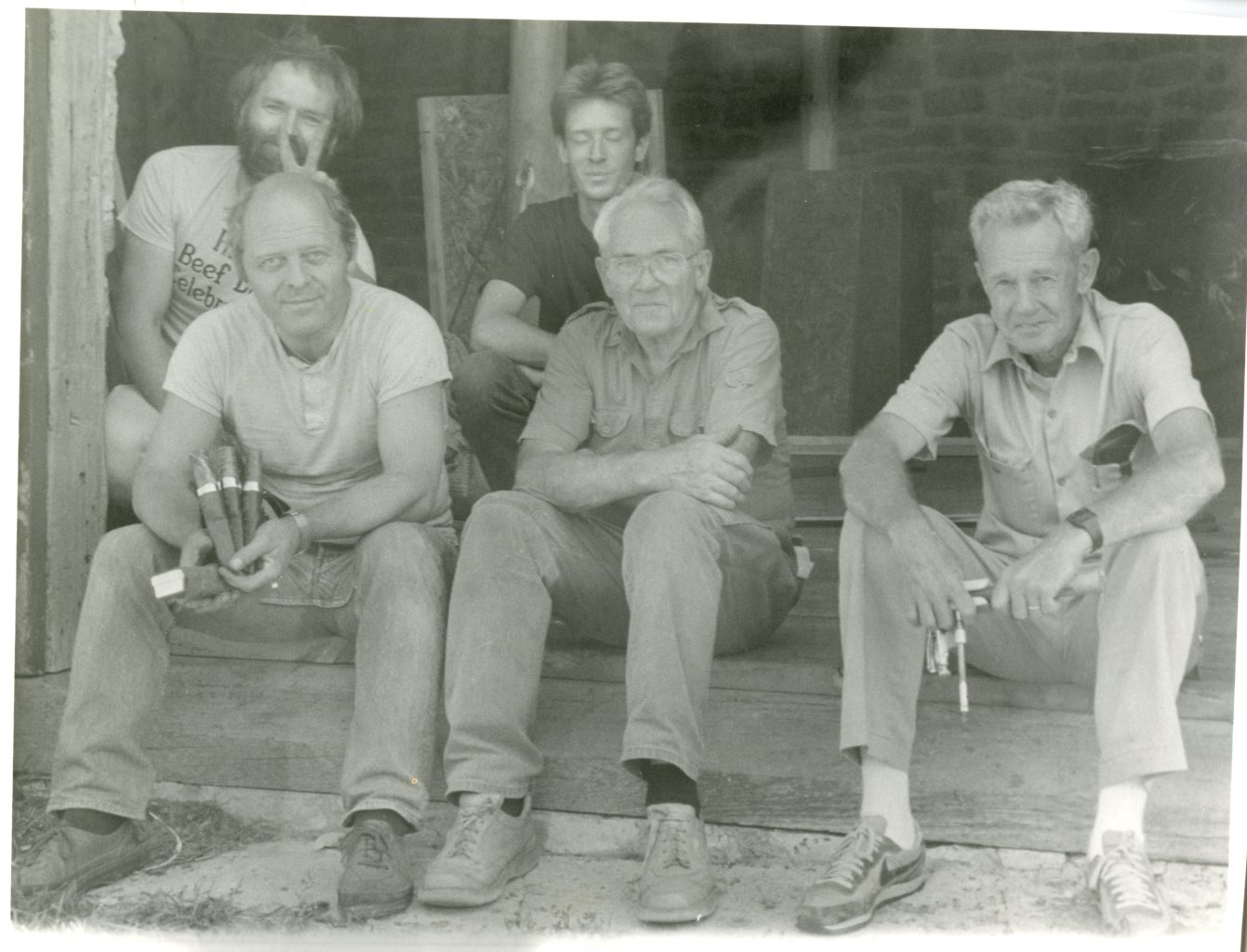 Five men pose for photo at knife making class at Vesterheim. Havard Bergland, Rob Spear, Fred Cogelow