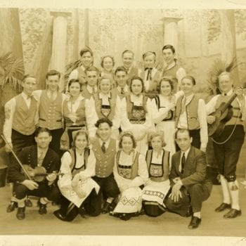 Group of men and women in Norwegian bunad.