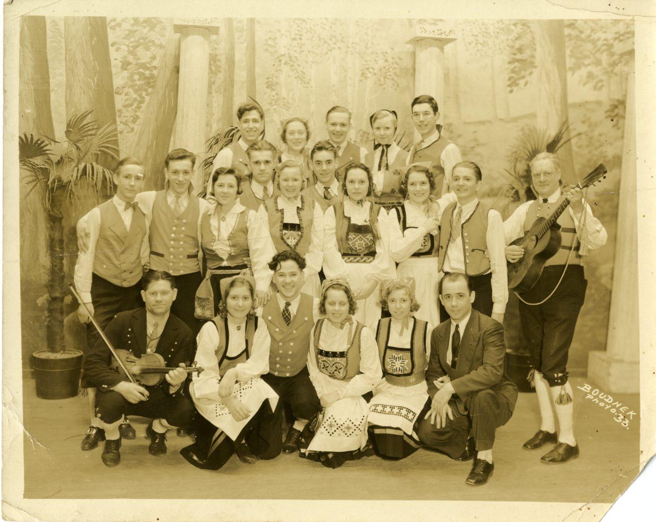 Group of men and women in Norwegian bunad.