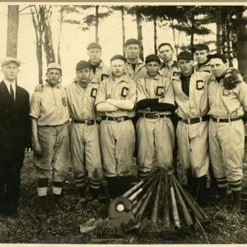 Group of men, part of Gale College Baseball Team, in Galesville, WI