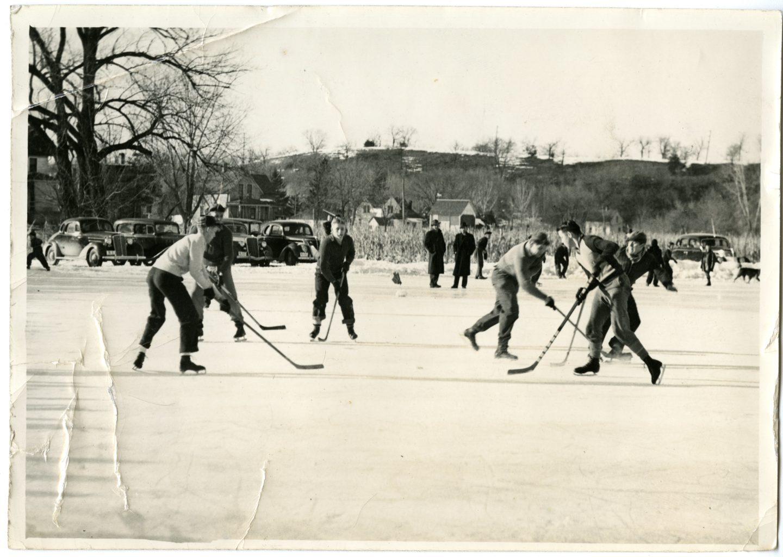 Many boys play hockey.