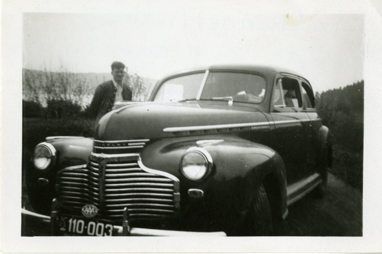 Mr. Gunneviuson poses by a car in Berger, Vestfold, Norway