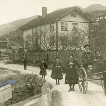 Three women and boy stand behind a man and boy in horse and carriage on road in Setesdal.