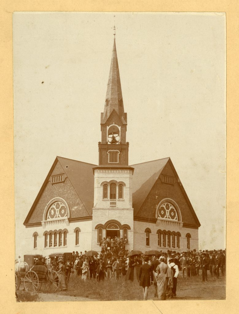People exiting Ostre Koshkonong Church.