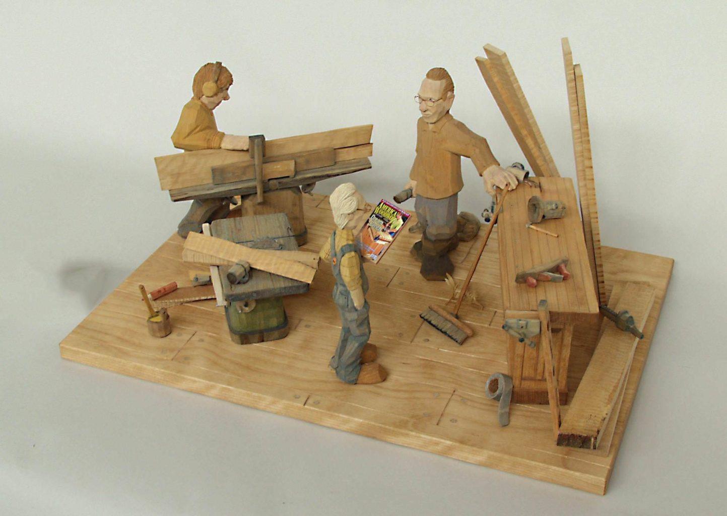 """""""Woodshop"""" carved figure © 2005 Jock Holmen """"Woodshop"""" carved figure © 2005 Jock Holmen"""