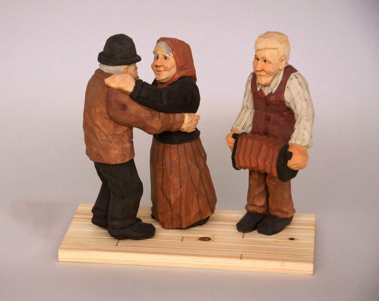 """""""Ingeborg and Tosten's Anniversary Waltz"""" carved figure © 2007 Bill Jaeger """"Ingeborg and Tosten's Anniversary Waltz"""" carved figure © 2007 Bill Jaeger"""